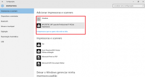 Tela do Dispositivos do Windows 10 com a impressora localizada