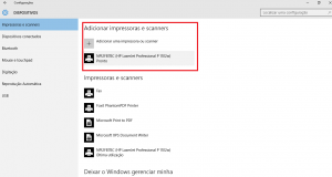 Tela do Dispositivo do Windows 10 com a impressora instalada.
